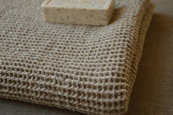Heavy LINEN Waffle Towel Massage Towel Natural Linen by ROSALinen