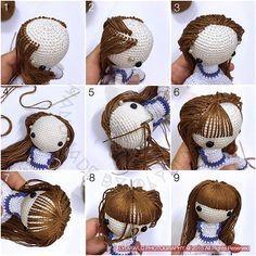 Amigurumi Hair - Photo Tutorial ❥ 4U hilariafina http://www.pinterest.com/hilariafina/