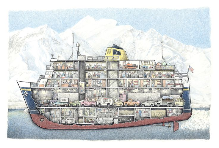Cutaway drawing of the Alaska ferry M/V Malaspina with everything including dogs in the cars.