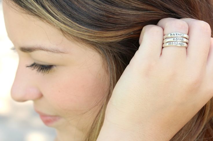 solid sterling silver stacking name rings... perfect gift for her!