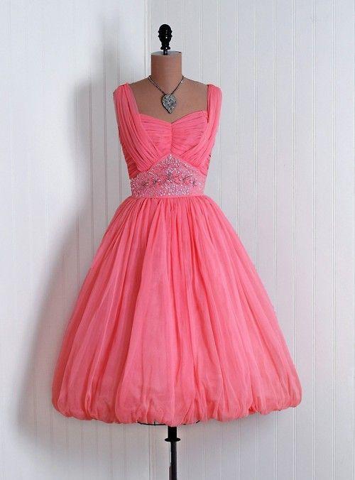 1950's pink rhinestone beaded chiffon cocktail dress.  #dresses #vintage #retro #50's #rhinestone #pink #ruching