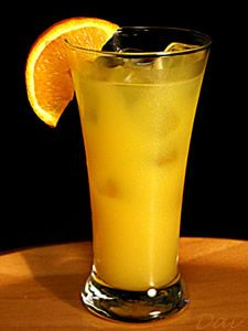 Fuzzy navel: shot o'vodka, shot o'peach schnapp''s douse with oj...enjoy !