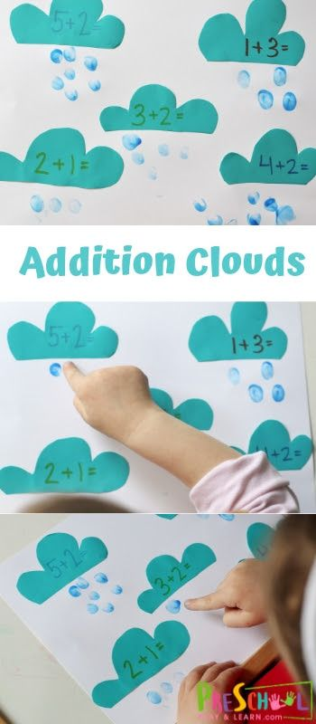 Addition Clouds – this is such a fun preschool han…