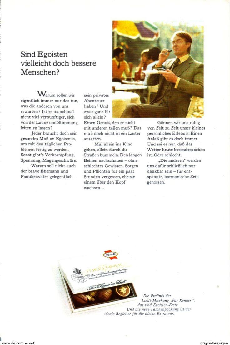 Werbung - Original-Werbung/ Anzeige 1968 - LINDT PRALINEN - ca. 150 x 230 mm