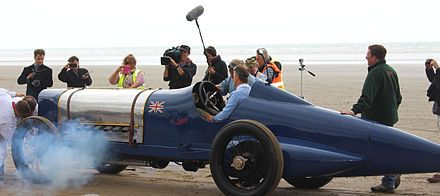 Sunbeam 350HP at Pendine Sands in Wales on the 90th anniversary of Sir Malcolm Campbell's land speed record.
