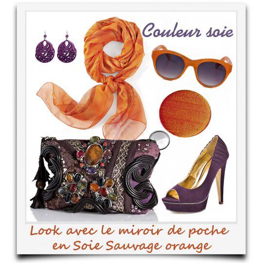 look avec le miroir de poche en soie sauvage orange