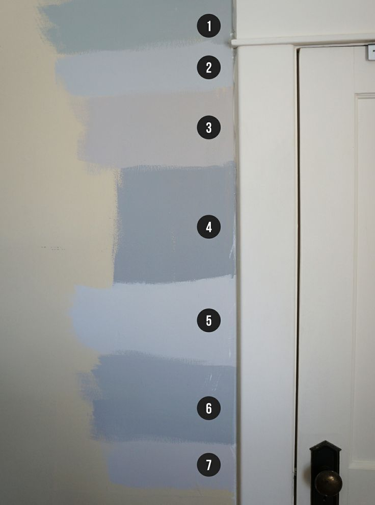 Shades of gray paint: (1) Martha Steward Bedford Gray, (2) Behr Dolphin Fin, (3) Behr Wheat Bread, (4) Dutch Boy Stonewall Jackson, (5) Benjamin Moore Balboa Mist, (6) Benjamin Moore Smoke Embers, (7) Behr Offbeat