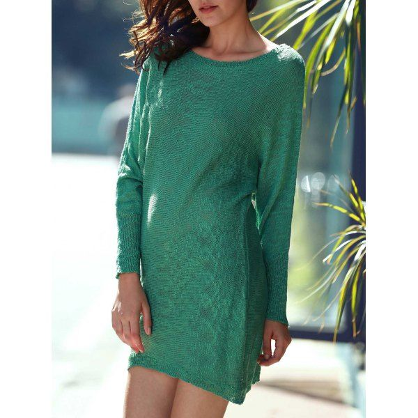Refreshing Scoop Neck Green Long Sleeve Dress For Women