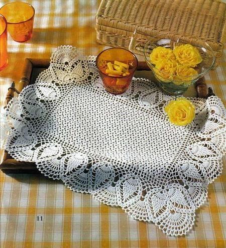 kare badem motifli dantel tepsi örtüsü