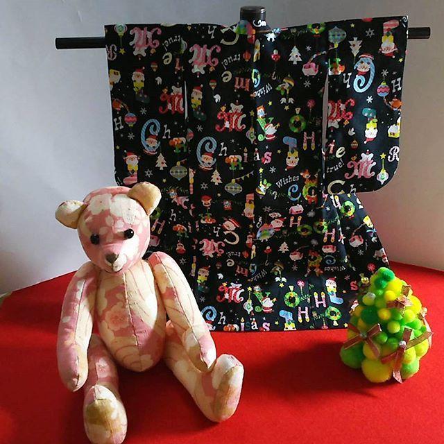 クリスマス柄⛄🎄の着物が完成しました✨  #和裁 #くまの桜ちゃん  #クリスマス #ミニ着物 #和裁教室 #着物 #東亜和裁 #toawasai