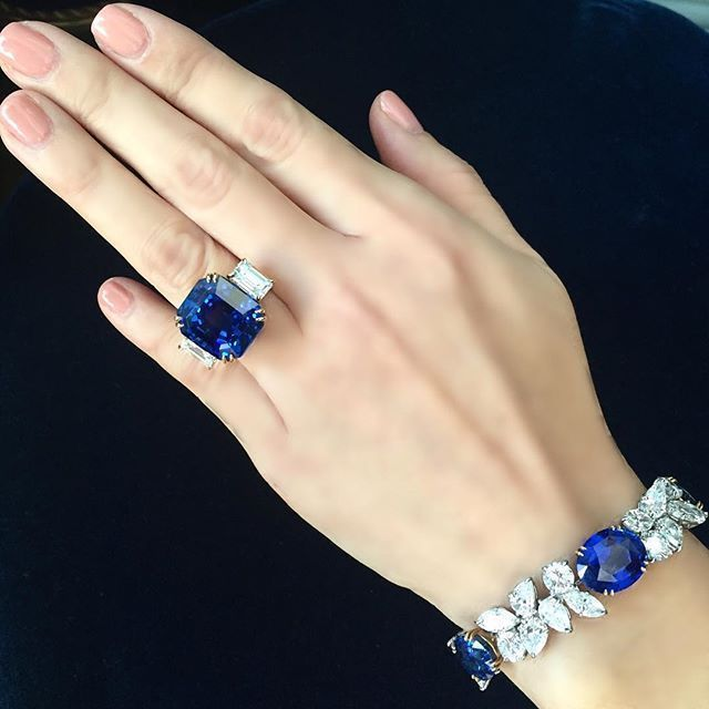 Timeless bracelet by Harry Winston and a Burma sapphire ring. #highclassrings