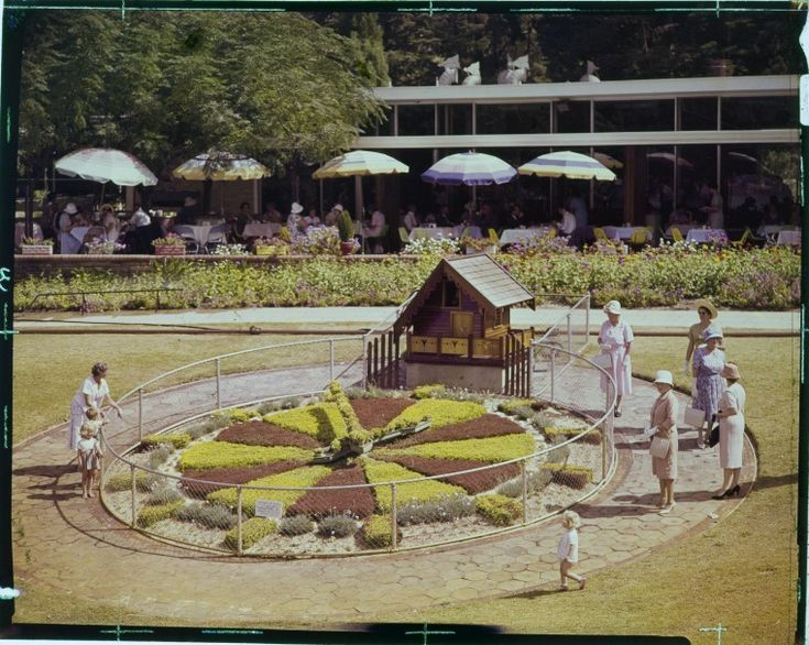 228006PD: Group of women and children at the floral clock outside Kings Park Garden Restaurant ca. 1962. https://encore.slwa.wa.gov.au/iii/encore/record/C__Rb3756096