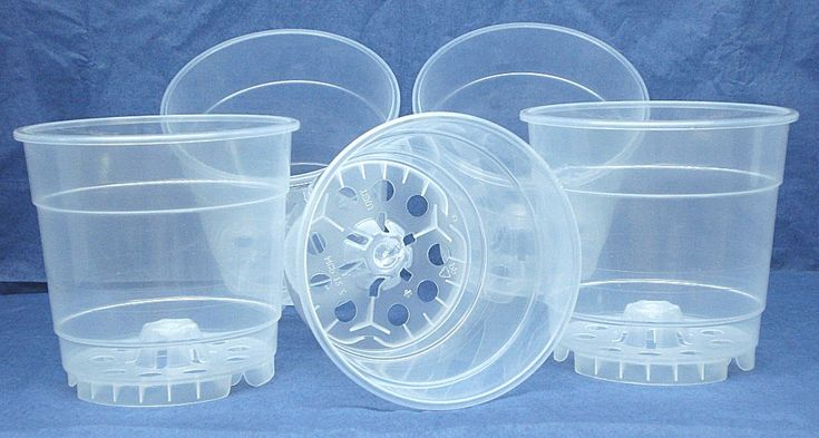 Clear plastic teku pot for orchids 4 12 inch diameter