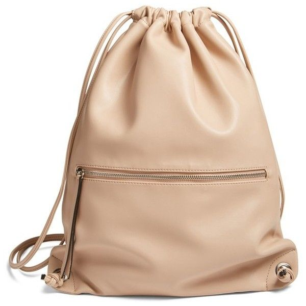 Women's Phase 3 Faux Leather Sling Backpack ($59) ❤ liked on Polyvore featuring bags, backpacks, tan stucco, fake leather backpack, faux leather rucksack, sling backpack, vegan bags and day pack backpack