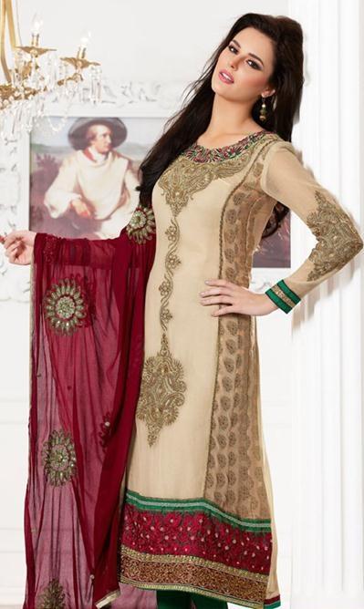 $95.37 Black Full Sleeve Georgette Knee Length Anarkali Salwar Kameez 18763