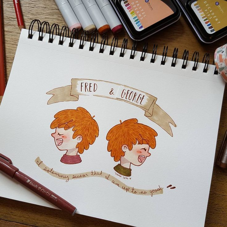 Potter Week Prompts Day One . Best Friends . These two! My most favorite besties in the Harry Potter world: Fred and George. I wanted to hang out with them so badly. Side note: I made a mistake when writing George's name, ha ha! See how I fixed it? Also, repeated yesterday's illustration layout because my profiles are finally turning out decent, imo. . #potterweekprompts #watercolor #copicmarkers #copicmultiliner #illustration #art #harrypotter #fredandgeorge #weasley #allthefeels #e...