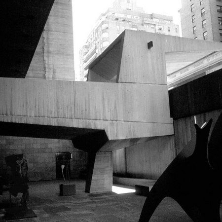 A detail of Marcel Breuer's Whitney Museum of American Art Building, 1966.