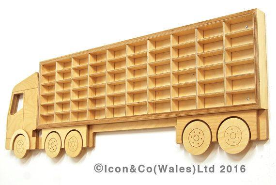 Toy Car Storage Boy's Birthday Gift Idea for Boys & Girls Truck Shelf Model Car Shelving Display 60 Cars Birch Plywood Present Ideas for Him – Mata MATA