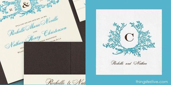 perfectly coordinated monogram wedding invitations & napkins #wedding #WeddingInvitations #WeddingNapkins #monogramwedding