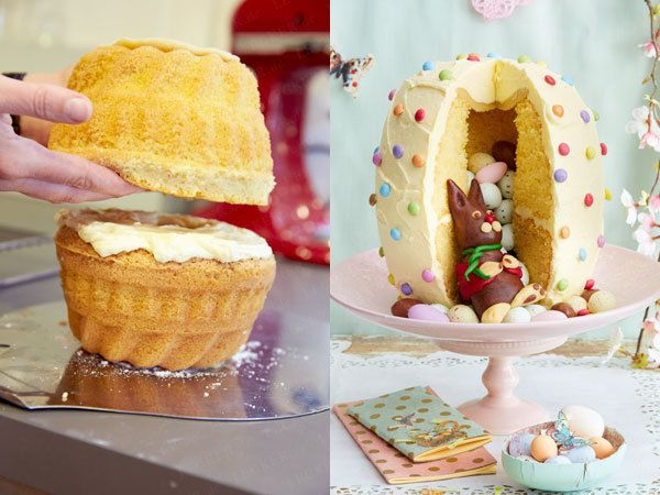 Backen für Fortgeschrittene: Überraschungskuchen mit süßer Füllung; versteckter Osterhase, bunte Ostereier, Schokolade, Fondant, Guss, perfekte für den Osterbrunch, surprise cake, easter idea, filled, rabbit, chocolate