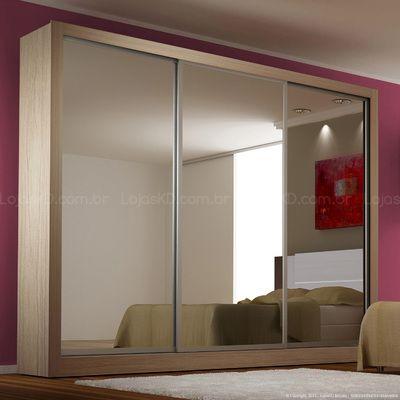 Guarda-roupa 3 Portas de Correr Monet 100% MDF Com Espelho Nude - Novo Horizonte