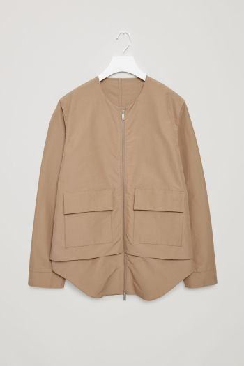 COS image 2 of Technical cotton-mix jacket in Beige