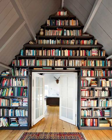 bookshelves! i want floor to ceiling book shelves! (including a sliding ladder)