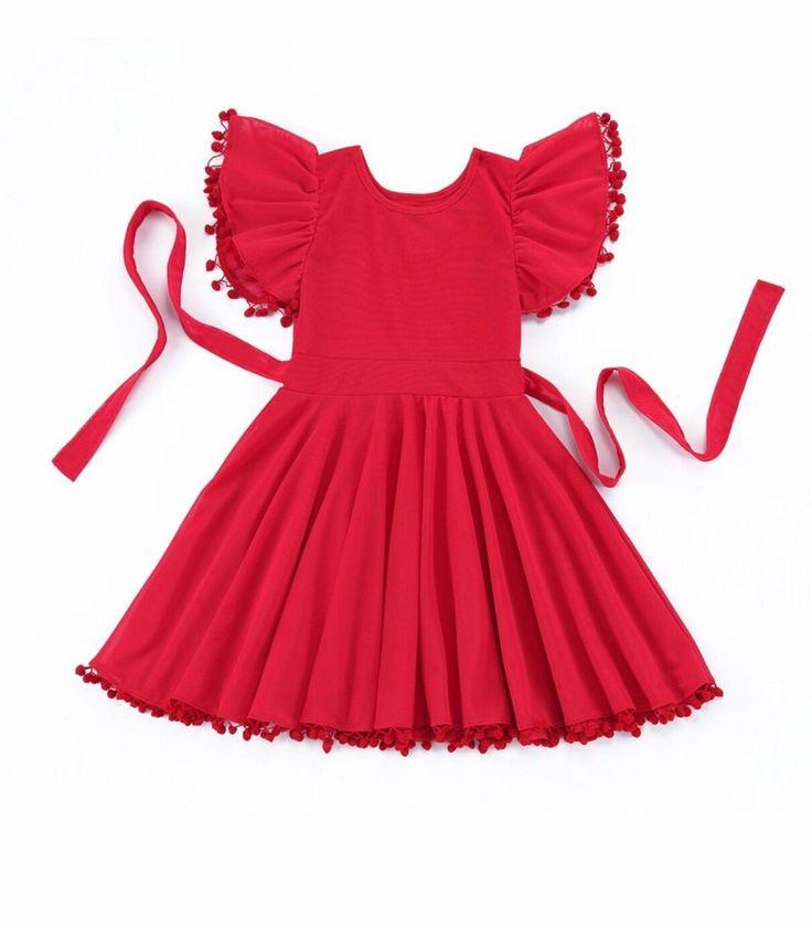 PRE ORDER - London Red Flutter Sleeve Pom Pom Dress Girls