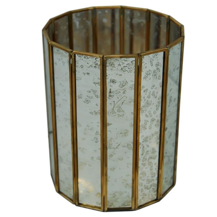 A&B Home Glass & Brass Candle Holder - Set Of 2