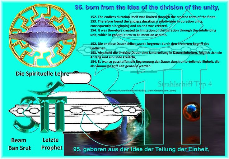 95. born from the idea of the division of the unity,   152. The endless duration itself was limited through the created term of the finite. 153. Therefore found the endless duration a subdivision in duration units, consequently a beginning and an end was created. 154. It was therefore created to limitation of the duration through the subdividing unit, which in general term to be mention as time.