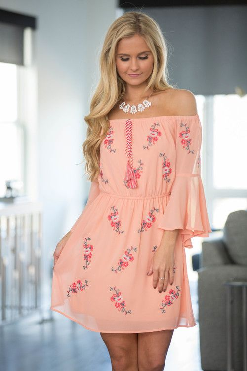 Let's Go To The Beach Off The Shoulder Dress - The Pink Lily