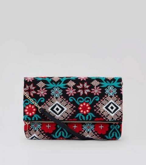 Black Embroidered Foldover Clutch