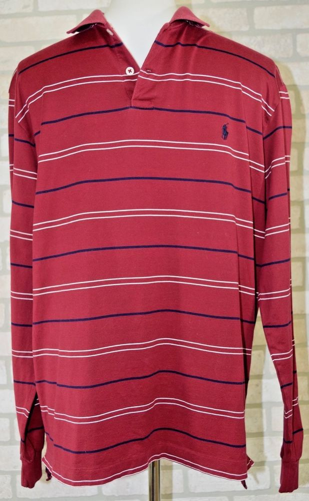 Mens Polo long sleeve rugby style Red striped shirt size M button collar cotton | Clothing, Shoes & Accessories, Men's Clothing, Casual Shirts | eBay!