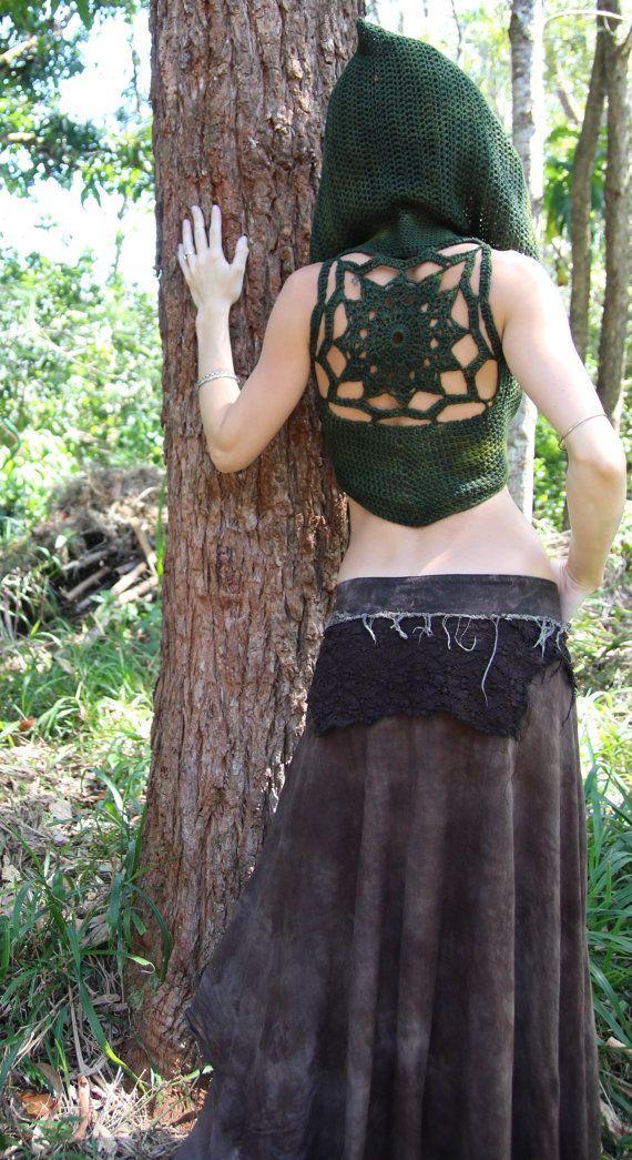"RESERVED Crochet Cotton Hooded Mandala Lace Up Vest Idea for crochet ""skirtlet""?"