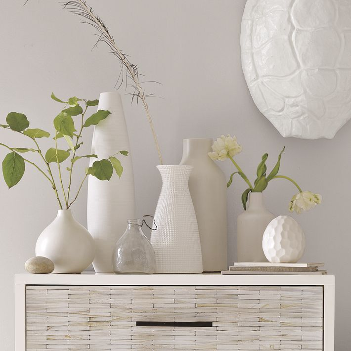 white vases collection - so clean and pristine!