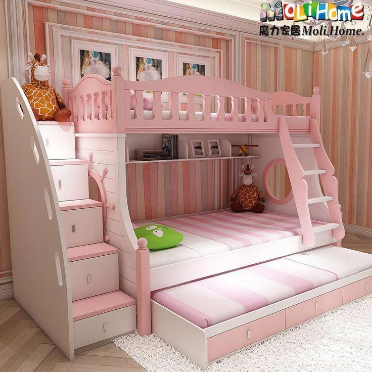 Mediterranean Bunk Bed Korean Children Bed Picture Bed Bunk Bed Childrens Princess Bed Girl Pink Modernbunkbedsforgirlsroom Kid Beds Bunk Beds Kids Bunk Beds