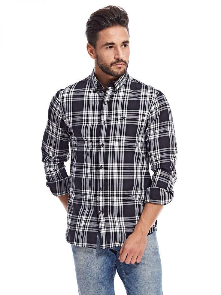 اشتري دوكرز قميص اسود وابيض قبة قميص -رجال - بلايز/ تيشيرتات | السعودية | سوق
