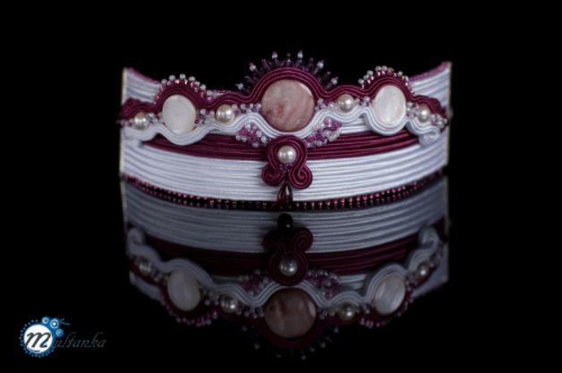 http://pl.dawanda.com/product/74782447-Burgundowa-panna-mloda---bransoleta-sutasz  #soutache #bracelet #wedding #forbride