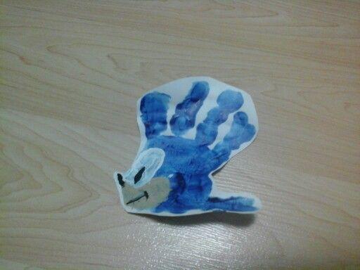 Sonic the hedgehog handprint craft for toddler boy