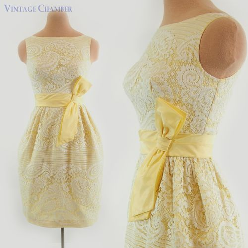 Vtg 50s 60s Ivory Yellow Lace Cocktail Party Wedding Mini Tulip Dress - currently under $20 on ebay!