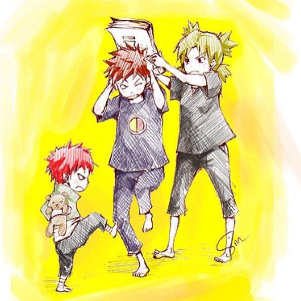 Temari and Gaara beating up Kankuro. This is too cute ... Gaara And Kankuro Brothers