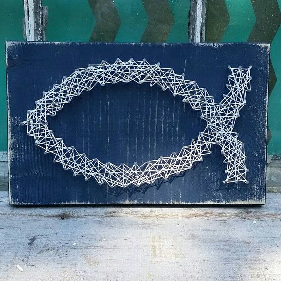 $20 Etsy String Art Fish  Nail Art Christian Fish   #Handmade by NailedItDesign.etsy.com