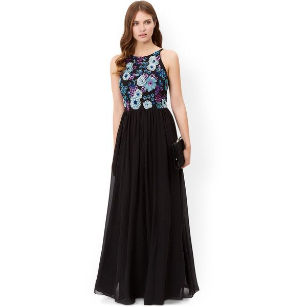 Monsoon Stella Embellished Maxi Dress ($300) ❤ liked on Polyvore featuring dresses, gowns, black sequin gown, black floral dress, black ball gown, floral dress and floral print maxi dress