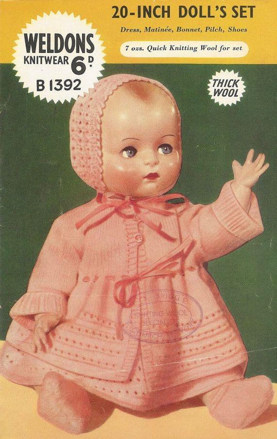 Weldons 1392 dolls pram suit vintage knitting by Ellisadine, £1.45