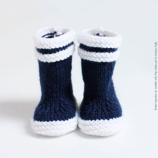 Bottes de marin maille bébé laine bleue hommage à Aigle - knitted Aigle booties <3