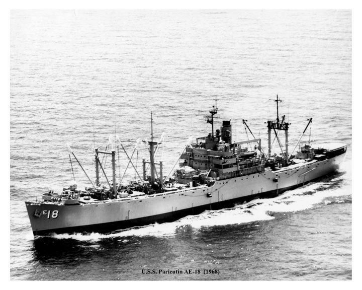USS Paricutin (AE-18) 1945, was laid down under Maritime Commission Contract, 7 December 1944 by North Carolina Shipbuilding Company, Wilmington. After shakedown she joined the Pacific Fleet and was engaged in the transfer of excess ammunition from the forward areas in the Pacific to Bangor, Washington, and Port Chicago, California until 20 November 1947 when she was ordered to Mare Island Naval Shipyard for inactivation. On 30 April 1948, Paricutin was placed out of commission in reserve…