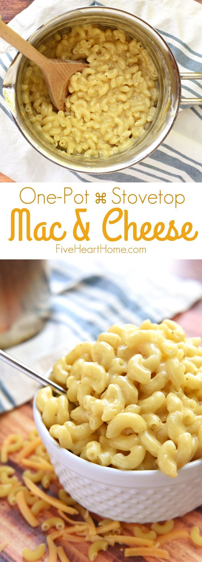 Homemade One-Pot Stovetop Macaroni and Cheese ~ creamy and made from scratch, this mac & cheese is as easy as one pot, a handful of ingredients, and ten minutes on the stove! |