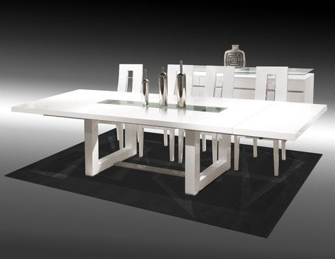 Novo Dining Table, Chairs and Buffet  The Novo Dining Table in white lacquer is a contemporary, rectangular table, inlayed with a rectangular glass. Resting on two square-shaped legs, this contemporary dining table has 2 extensions on both sides.