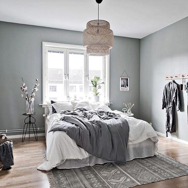 Scandinavian Interior Apartment With Mix Of Gray Tones: Serene Grey Bedroom Via @bjurfors_goteborg