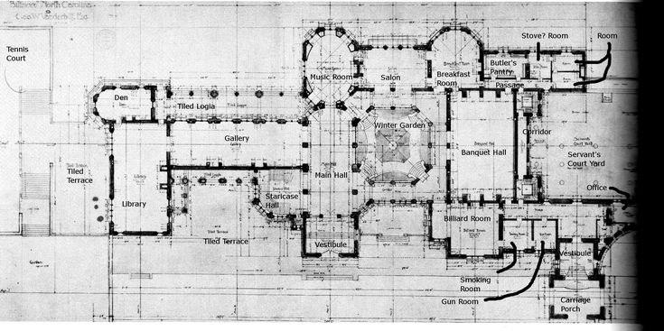 Biltmore ground floor plan with details the gilded age for Biltmore estate floor plan